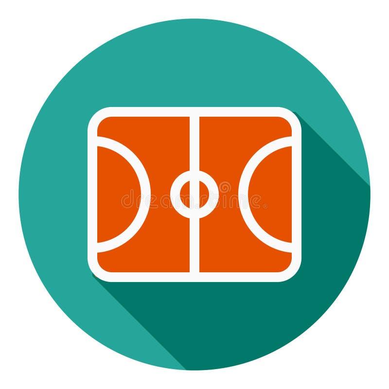 Basketballfeld-Vektorikone, Sportfeldikone, Sportfeldsymbol Moderne, flache lange Schattenvektorikone für lizenzfreie abbildung