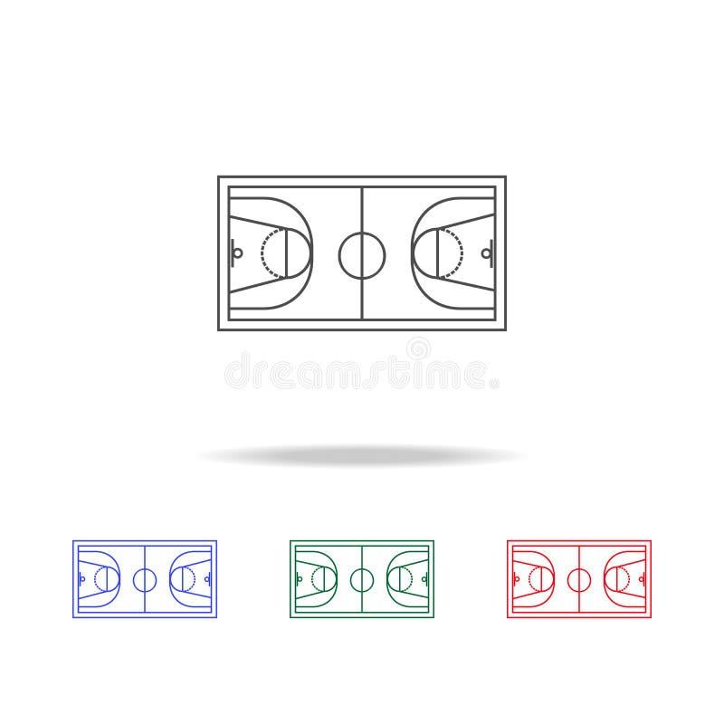 Basketballfeldikonen Elemente des Sportelements in den multi farbigen Ikonen Erstklassige Qualitätsgrafikdesignikone Einfache Iko stock abbildung