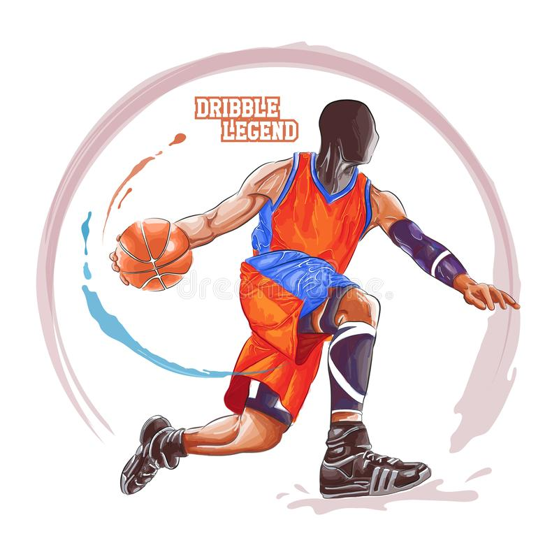 Basketballgetröpfel-Aquarellmalerei vektor abbildung