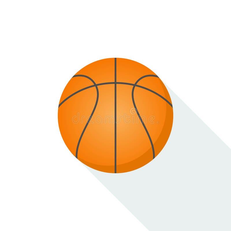 Basketballikonenvektor lokalisiert auf Hintergrund mit langem Schatten vektor abbildung