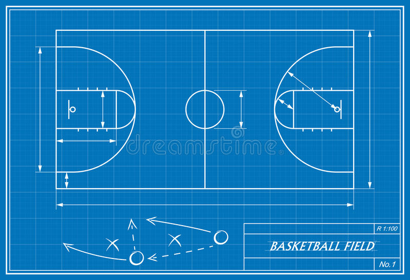 Basketballplatz auf Plan stock abbildung