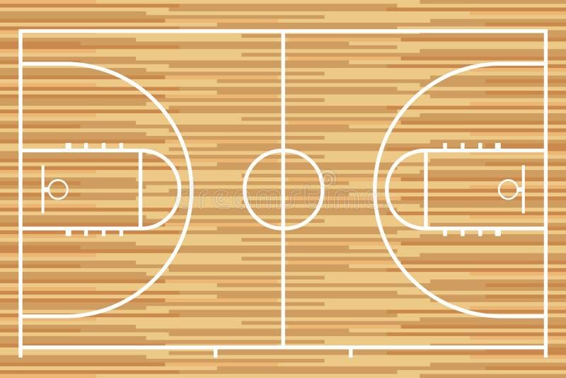 Basketballplatz mit Parkettholzbrett Vektor vektor abbildung