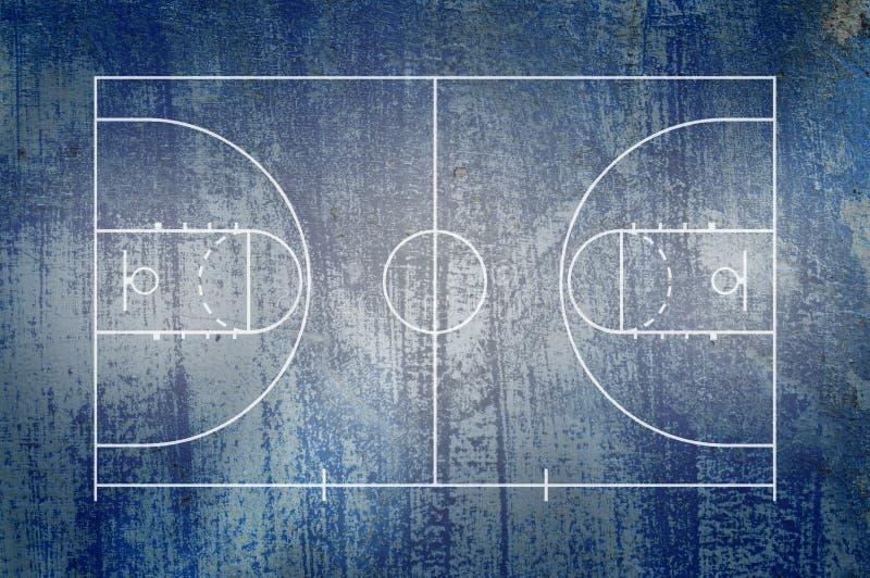 Basketballplatzboden mit Linie auf Schmutzhintergrund vektor abbildung