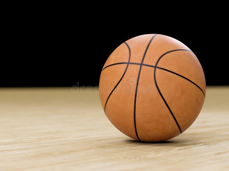 Basketballplatzbretterboden mit Ball auf Schwarzem mit c lizenzfreie stockfotos