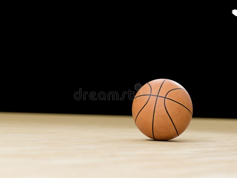 Basketballplatzbretterboden mit Ball auf Schwarzem mit c lizenzfreies stockfoto