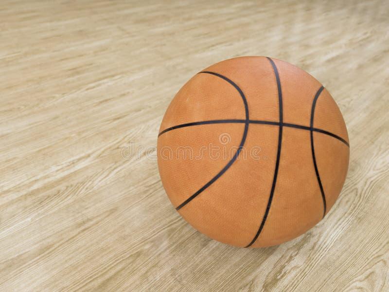 Basketballplatzbretterboden mit Ball auf Schwarzem mit c lizenzfreie stockfotografie