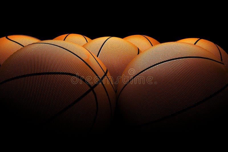 Basketballs black background stock photo