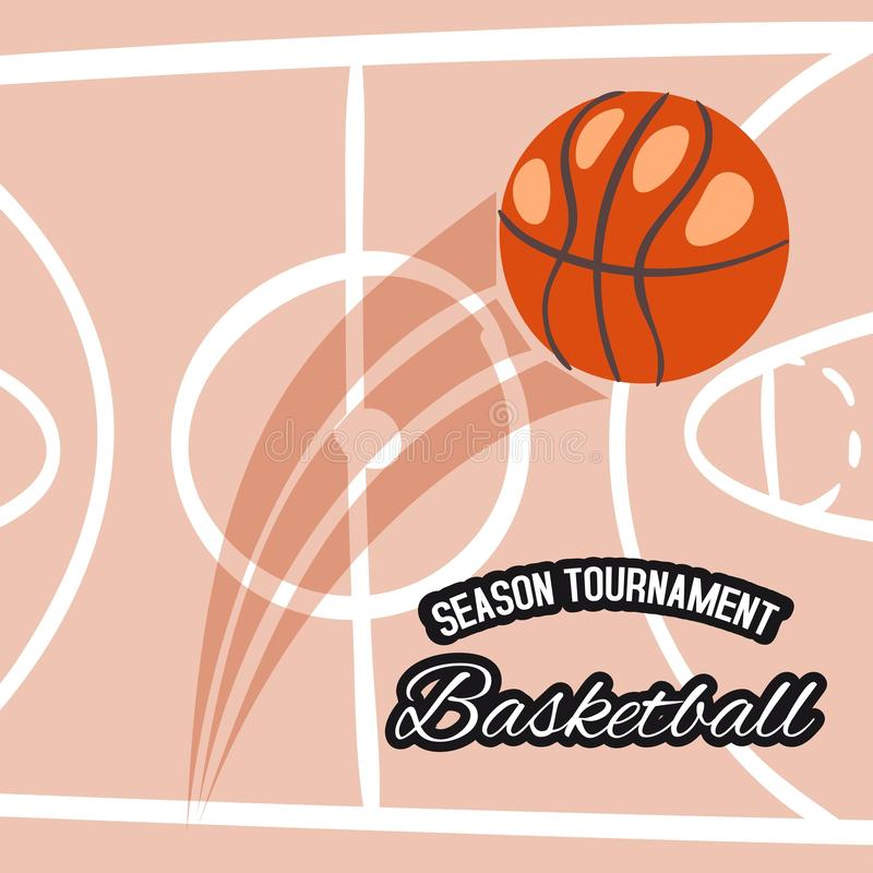Basketballsaison-Turnierfahnen-Vektorillustration Werfender Ball in Korb oder in Band Aktive Art des Sports lizenzfreie abbildung