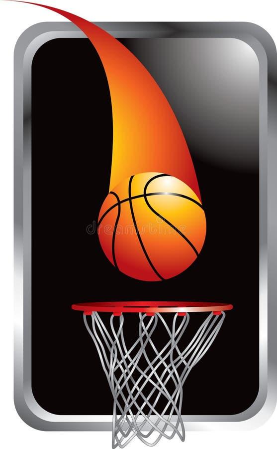 Basketballschuß, der in Band einsteigt stock abbildung