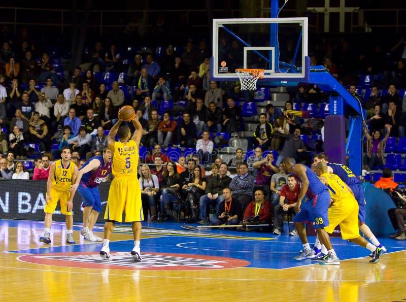 Basketballspiel Barcelona gegen Maccabi lizenzfreies stockbild