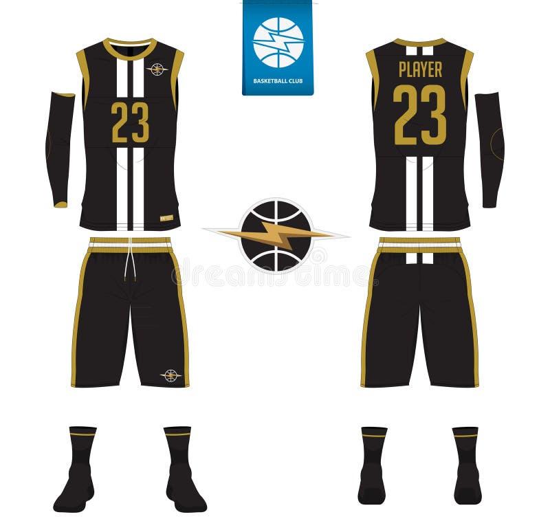 Basketballtrikot, kurze Hosen, trifft Schablone für Basketballverein hart stock abbildung