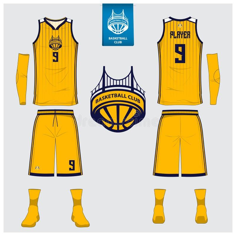 Basketballtrikot, kurze Hosen, trifft Schablone für Basketballverein hart Vordere und hintere Ansichtsportuniform Trägershirtt-sh stock abbildung