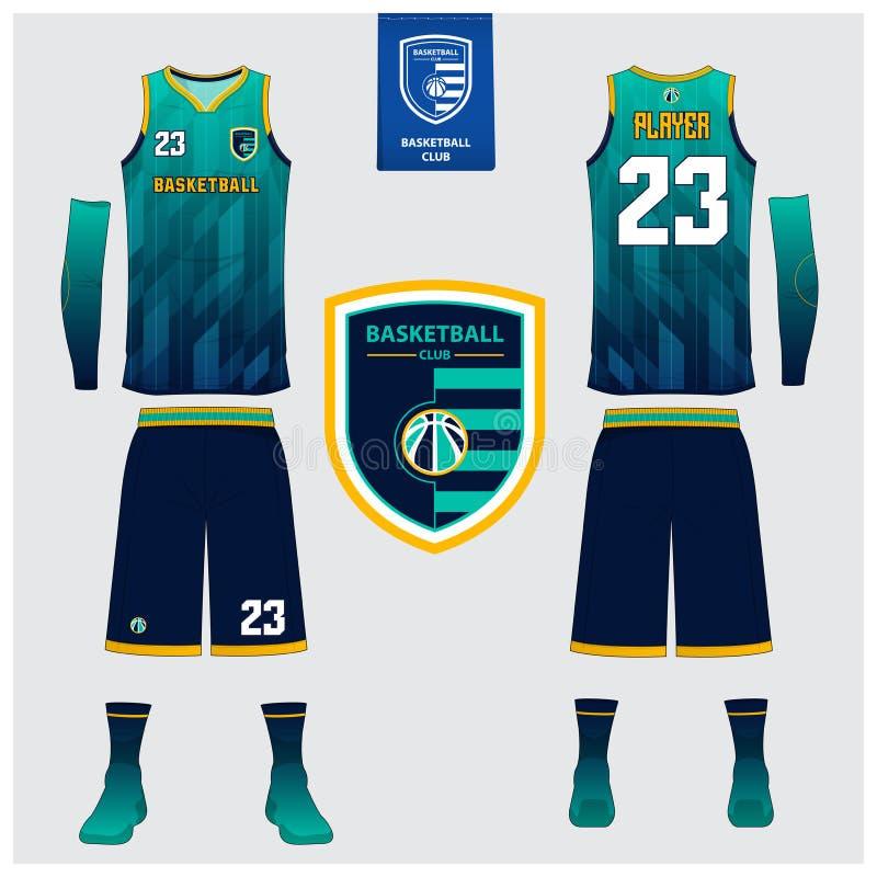 Basketballtrikot, kurze Hosen, trifft Schablone für Basketballverein hart Vordere und hintere Ansichtsportuniform Trägershirtt-sh vektor abbildung
