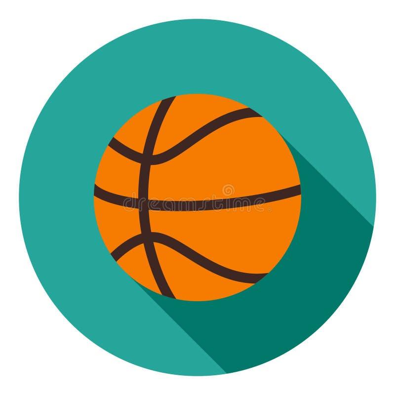 Basketballvektorikone, Sportballikone, Sportballsymbol Moderne, flache lange Schattenvektorikone stock abbildung