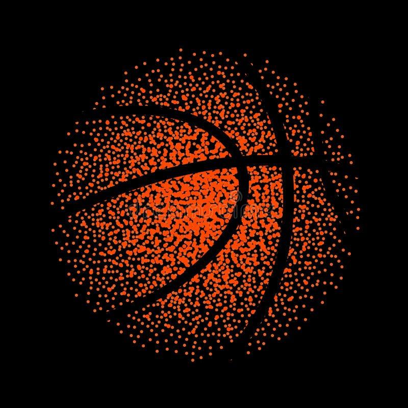 Basketballvektortechnologie-Hintergrundspiel Korb punktiert Ballelementtätigkeit lizenzfreie abbildung