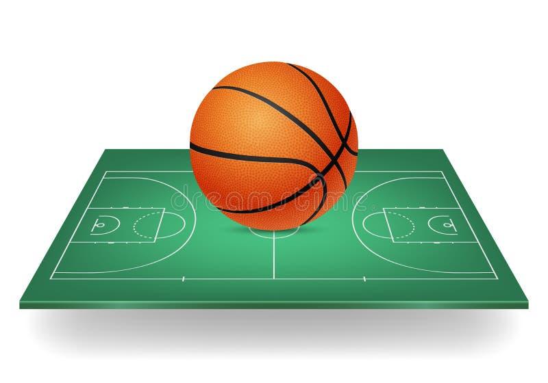 Basketbalpictogram - bal op een groen hof royalty-vrije illustratie