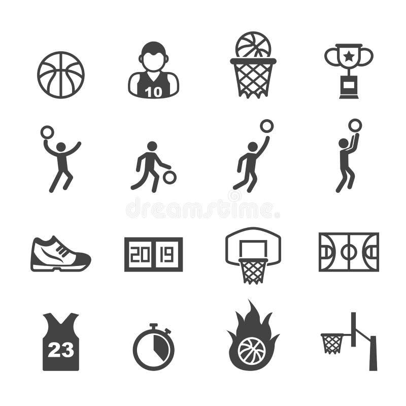 Basketbalpictogrammen stock illustratie