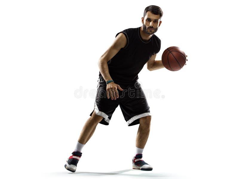 Basketbalspeler in actie op wit wordt geïsoleerd dat royalty-vrije stock fotografie