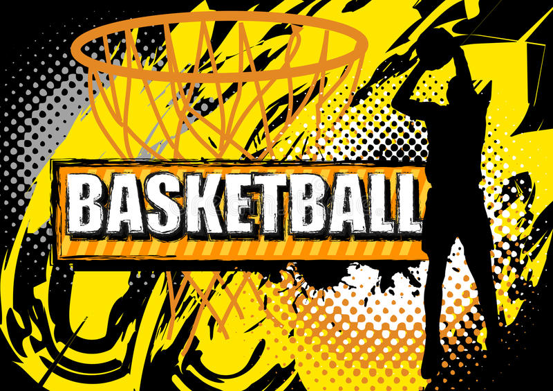 Basketbalspeler die bal op grungeachtergrond schieten vector illustratie