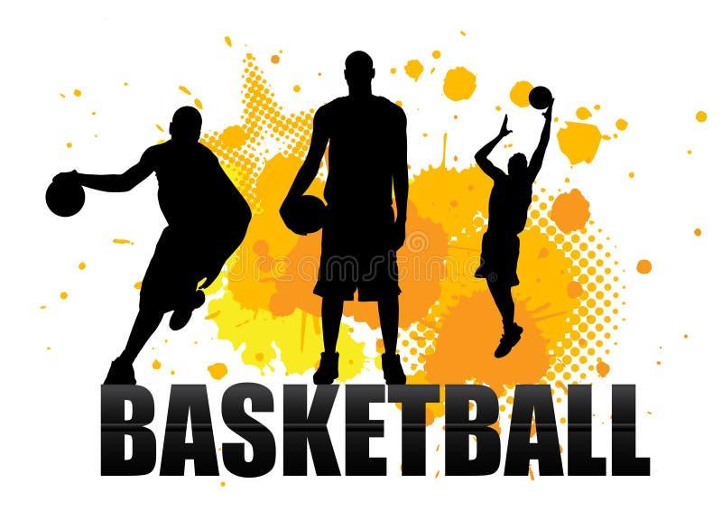 Basketbalspeler in handeling op grunge royalty-vrije illustratie