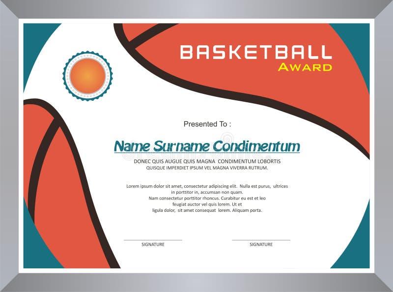 Basketbaltoekenning, het ontwerp van het diplomamalplaatje stock illustratie