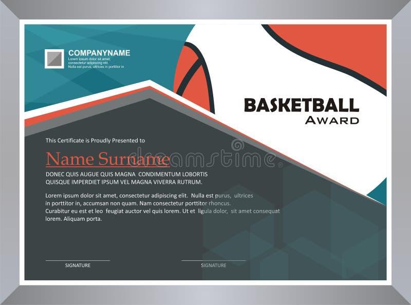 Basketbaltoekenning, het ontwerp van het diplomamalplaatje vector illustratie