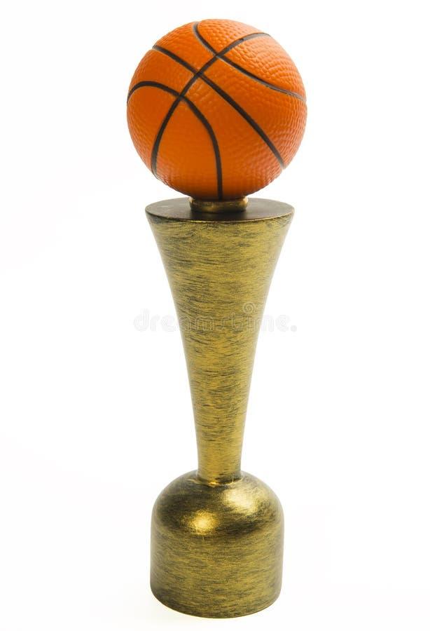 Basketbaltrofee die op witte achtergrond wordt geïsoleerd stock fotografie