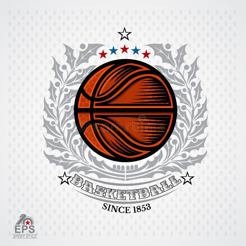 Basketboll i mitt av silverkransen på ljus bakgrund Illustration av den utomhus- symbolen för affärsföretagsportdesign stock illustrationer