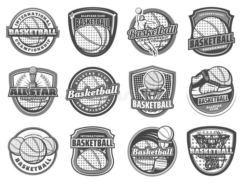 Basketboll, korg, spelare sport två för silhouettes för spelare för bollfotbollsymboler stock illustrationer