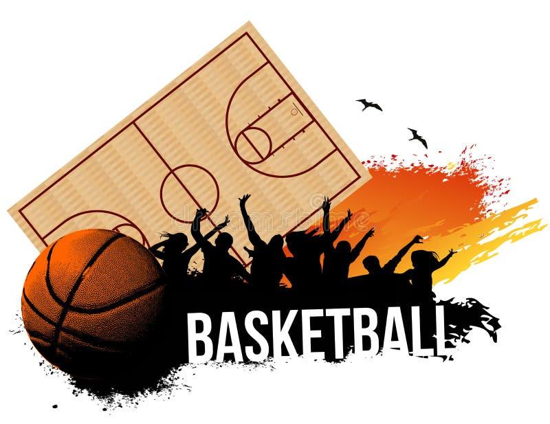 Basketdomstol stock illustrationer