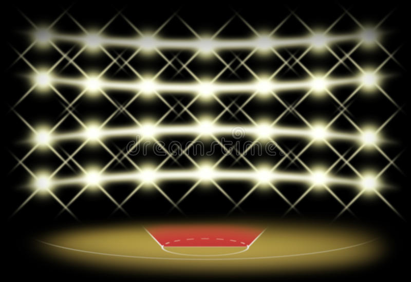 Basketdomstol i mörker med strålkastarebakgrund vektor illustrationer