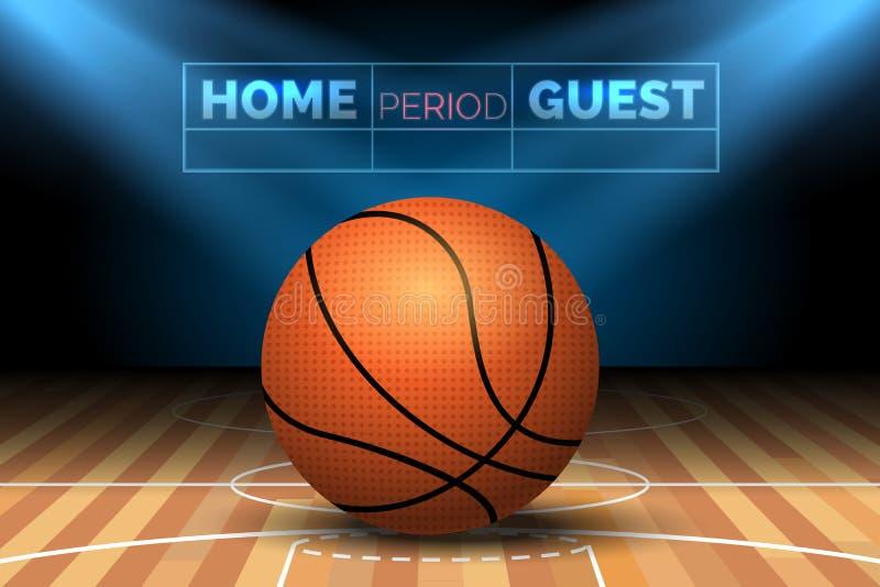 Basketdomstol med bollen stock illustrationer