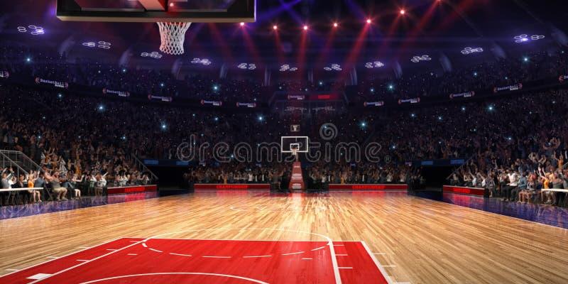 Basketdomstol med folkfanen stadion för arenaregnsport Photoreal 3d framför bakgrund blured i det distancelike långa skottet luta arkivbild