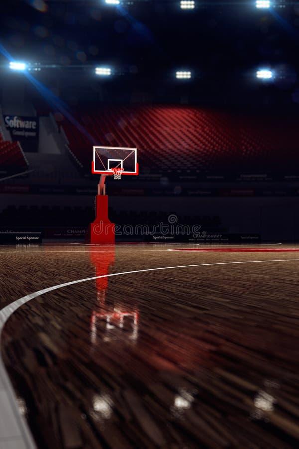basketdomstol om illustration stadion för arenaregnsport royaltyfri illustrationer