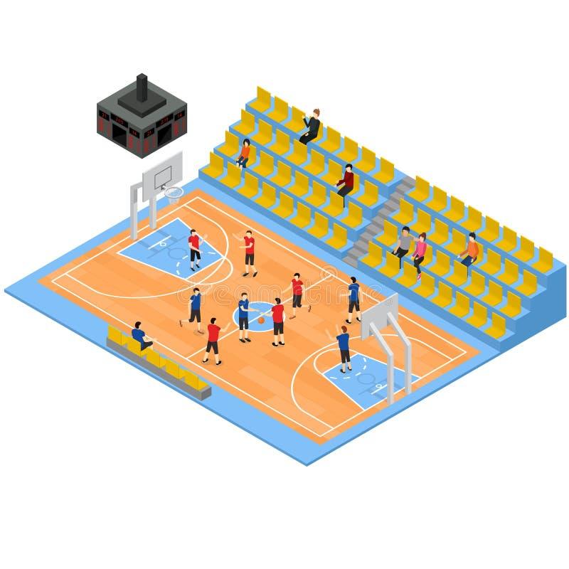 Basketfält och isometrisk sikt för tribun 3d vektor royaltyfri illustrationer