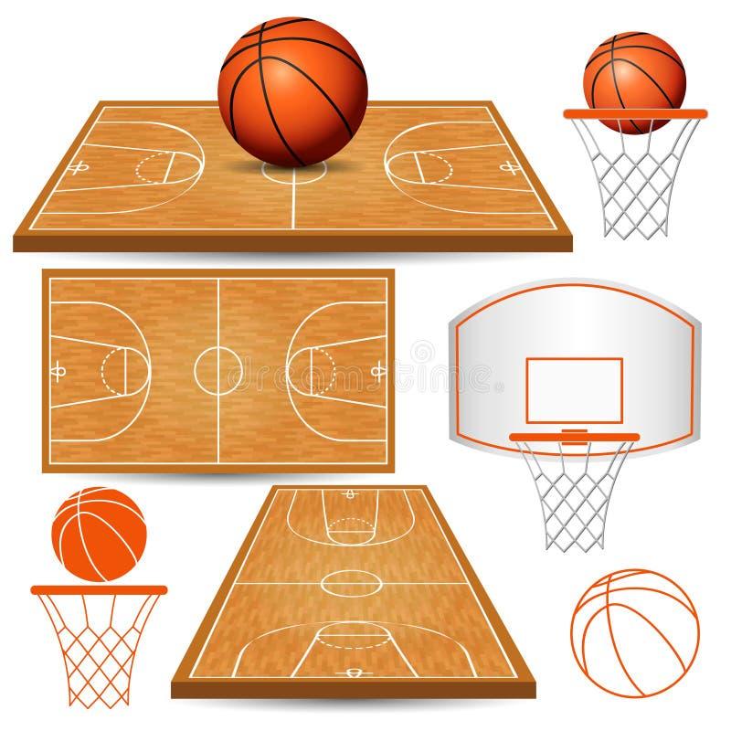 Basketkorg, beslag, boll, fält som isoleras på vit bakgrund vektor illustrationer