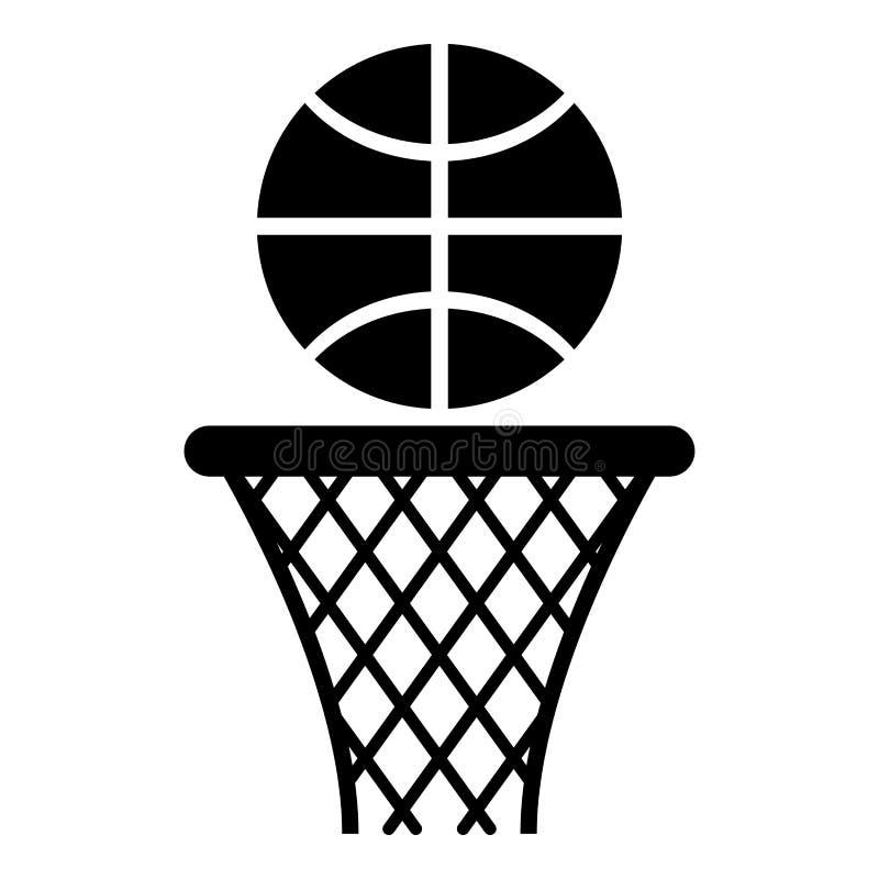 Basketkorg och netto bollbeslag och bild för stil för svart för färg för bollsymbol illustration för vektor plan arkivfoto