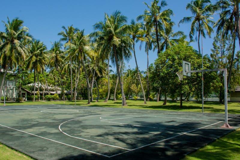 Basketlekplats på den tropiska semesterorten nära djungler fotografering för bildbyråer