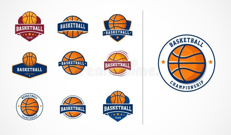 Basketlogo, emblem, symbolssamlingar, vektormallar vektor illustrationer