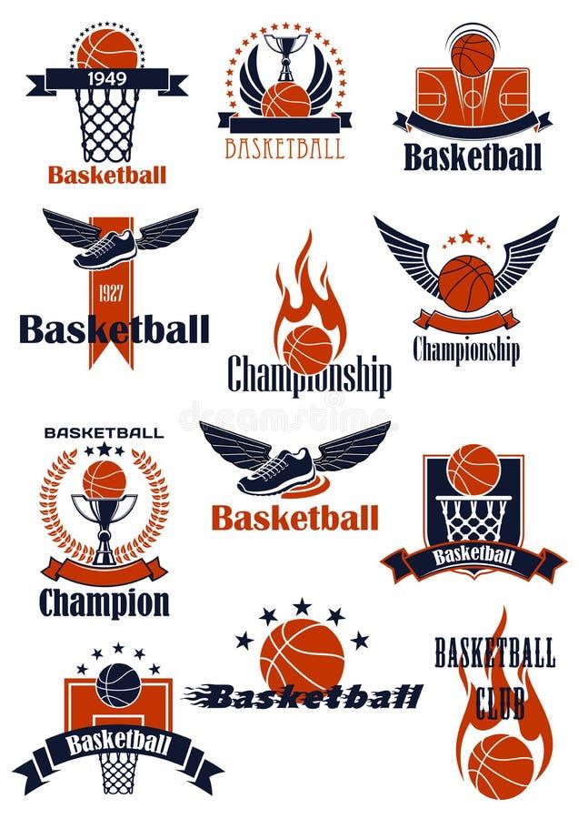 Basketmästerskap eller emblem för sportslig klubba stock illustrationer
