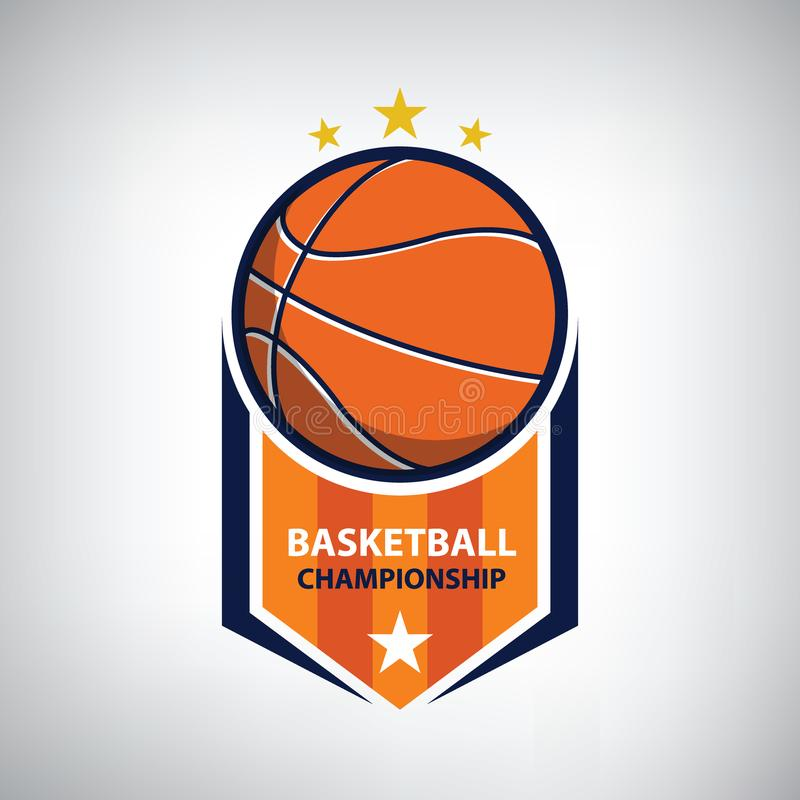 Basketmästerskaplogo royaltyfri illustrationer