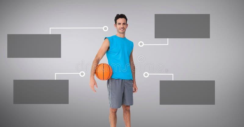 Basketman med tomma infographic diagrampaneler royaltyfri foto