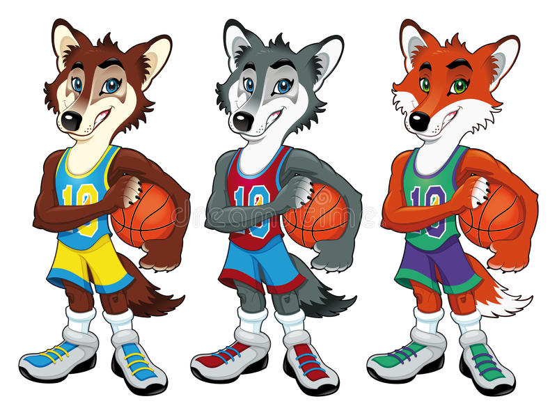 basketmaskotar vektor illustrationer