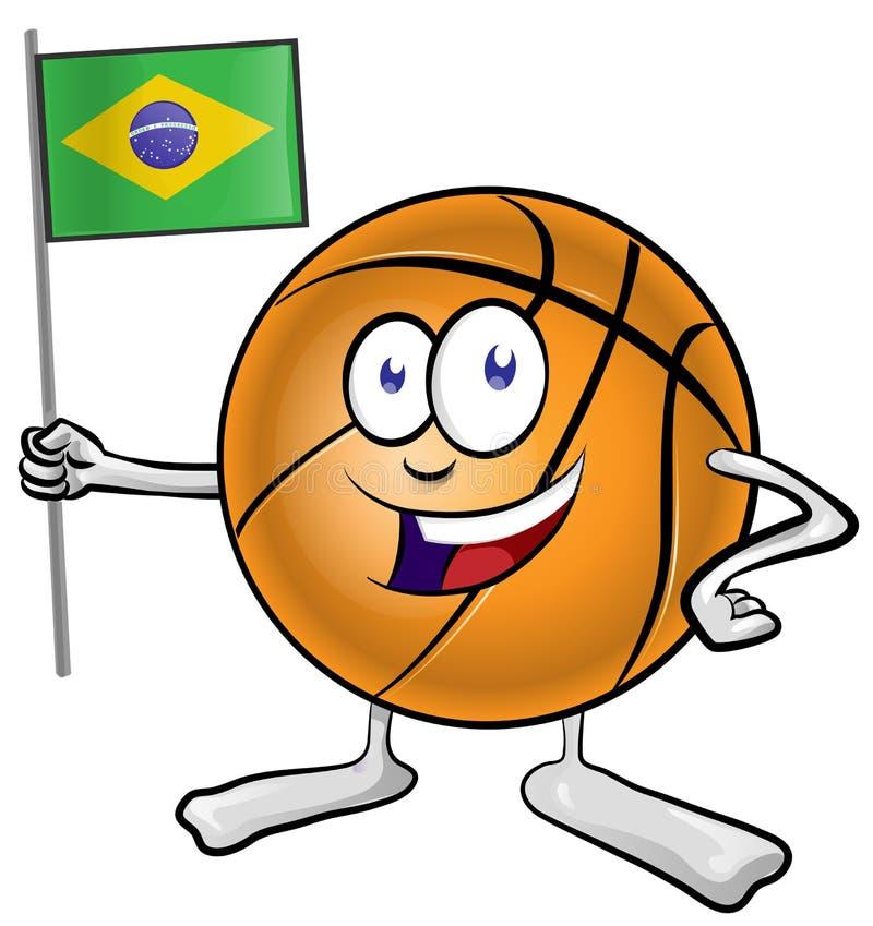 Basketmaskottecknad film med den brasilianska flaggan royaltyfria bilder