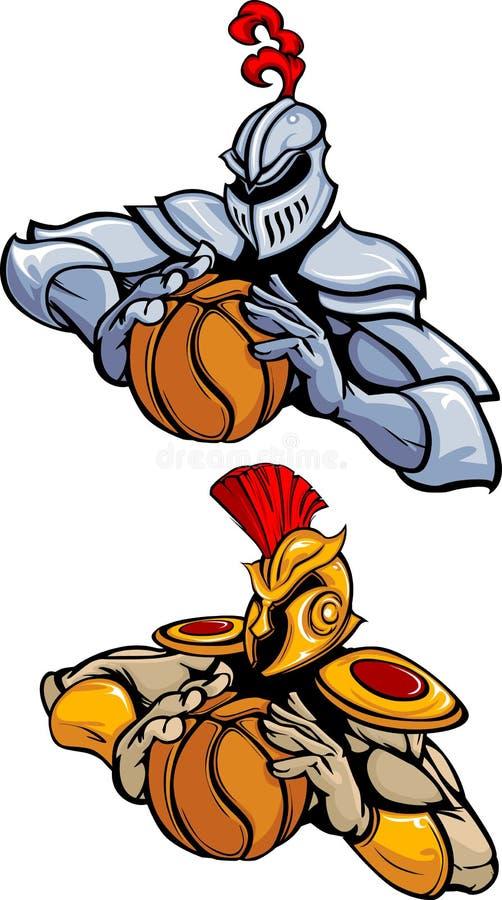 basketmaskotvektor vektor illustrationer