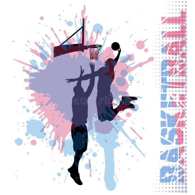 Basketmatch på grungebakgrund royaltyfri illustrationer