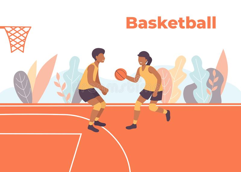 Basketmatchspelare på fältet arkivbilder