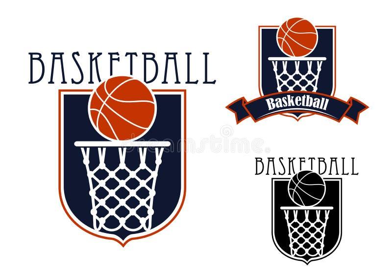 Basketmatchsymboler med korgar och bollar royaltyfri illustrationer