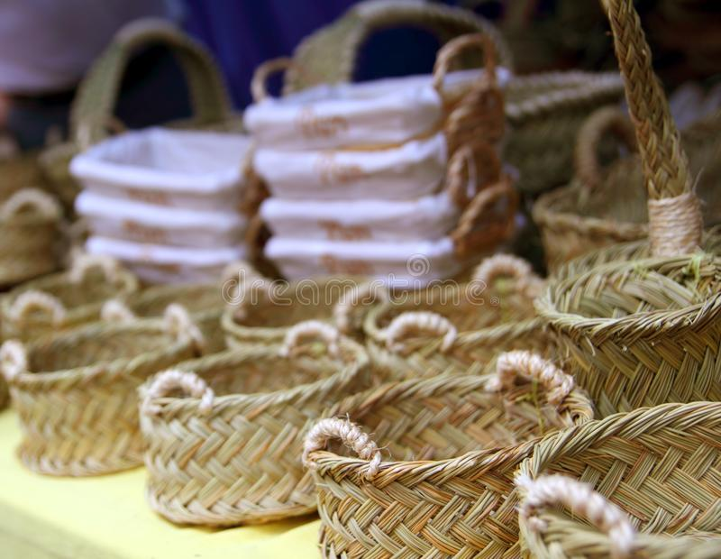 Basketry basketwork Spain enea esparto basket. Basketry basketwork Spain traditional enea esparto basket handcrafts stock photo
