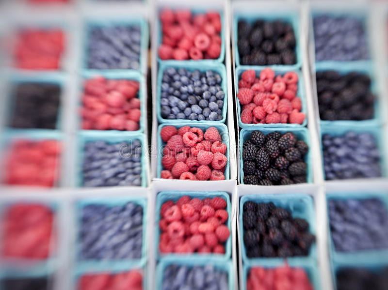 Baskets of Berries, selective focus stock images